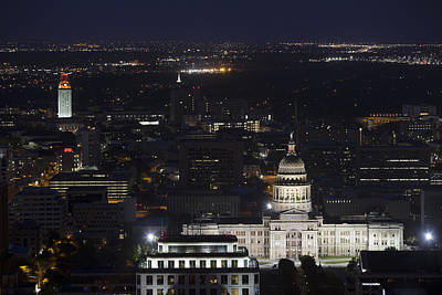 Texas State Capitol And The Ut Tower At Night Print by Rob Greebon