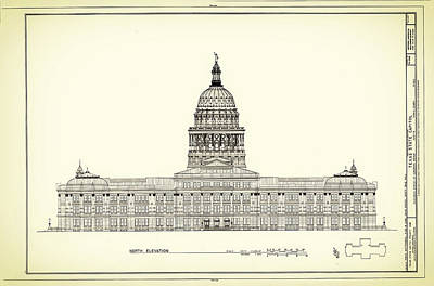 Austin Drawing - Texas State Capitol Architectural Design by Mountain Dreams