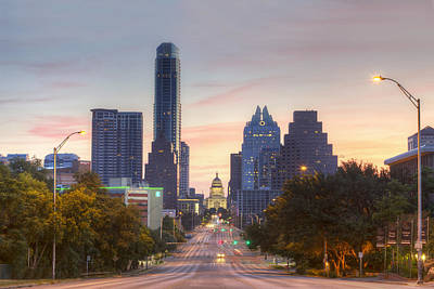 Texas State Capitol From Congress Avenue In The Morning 7 Print by Rob Greebon