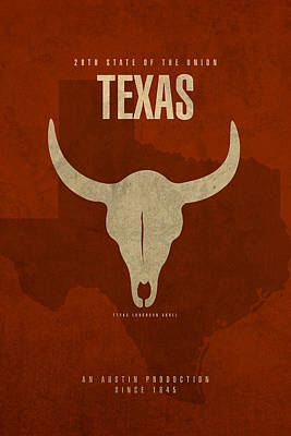 Mixed Media - Texas State Facts Minimalist Movie Poster Art  by Design Turnpike
