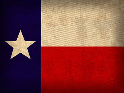 Texas State Flag Lone Star State Art On Worn Canvas Art Print by Design Turnpike