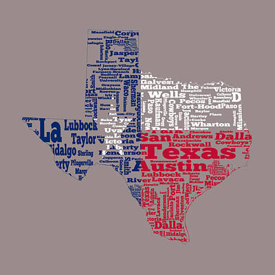 The Lone Star State Digital Art - Texas State Flag Word Cloud by Brian Reaves