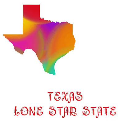Texas State Map Collection 2 Art Print by Andee Design
