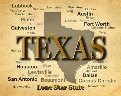 Port Town Digital Art - Texas State Pride Map Silhouette  by Keith Webber Jr