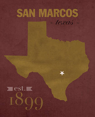 Bobcats Mixed Media - Texas State University Bobcats San Marcos College Town State Map Poster Series No 108 by Design Turnpike
