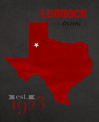 Texas Mixed Media - Texas Tech University Red Raiders Lubbock College Town State Map Poster Series No 109 by Design Turnpike