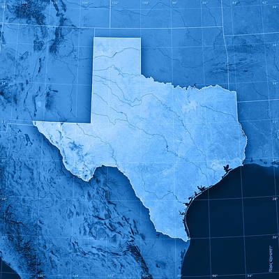 Texas Topographic Map Art Print