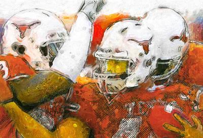 Ut Football Painting - Texas Touchdown by John Farr