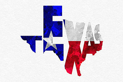 Texas Typographic Map Flag Art Print