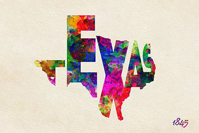 Texas Typographic Watercolor Flag Print by Ayse Deniz
