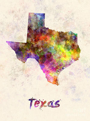Cartography Painting - Texas Us State In Watercolor by Pablo Romero