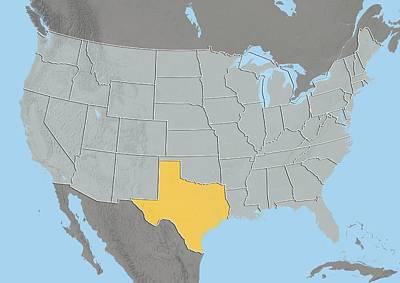Texas, Usa, Relief Map Art Print