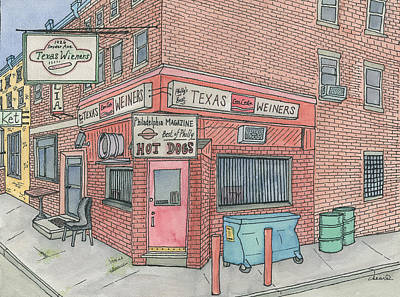 Hot Dog Stand Painting - Texas Wieners by Cee Heard