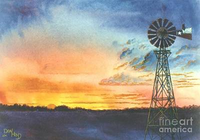 Great Outdoors Mixed Media - Texas Windmill by Don Hand