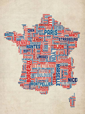 France Map Digital Art - Text Map Of France Map by Michael Tompsett