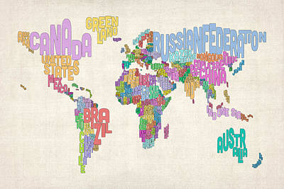 Text Map Of The World Map Art Print by Michael Tompsett