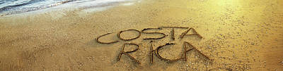 Text On Sand On The Beach, Liberia Art Print by Panoramic Images