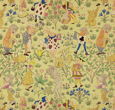 Lion Illustrations Painting - Textile Design For Alice In Wonderland by Voysey