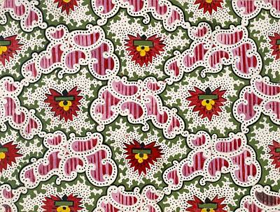Vibrant Drawing - Antique French Textile Design by French School