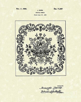 Drawing - Textile Fabric 1926 Patent Art by Prior Art Design