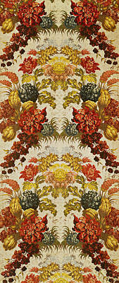 Textile With A Repeating Floral Pattern, Lyon Workshop, C.1740 Silk Brocade Art Print by French School
