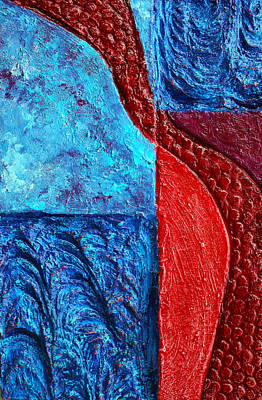 Mixed Media - Texture And Color Bas-relief Sculpture #4 by Karen Cade