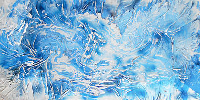 Mixed Media - Textured Blue And White Series 1 by Angela Stout