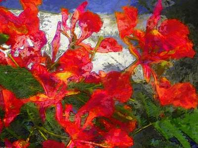 Painting - Textured Flamboyant Flowers - Horizontal by Lyn Voytershark