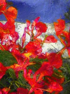 Painting - Textured Flamboyant Flowers - Vertical by Lyn Voytershark