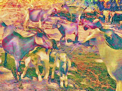 Painting - Textured Goat Herd In Lilac - Horizontal  by Lyn Voytershark