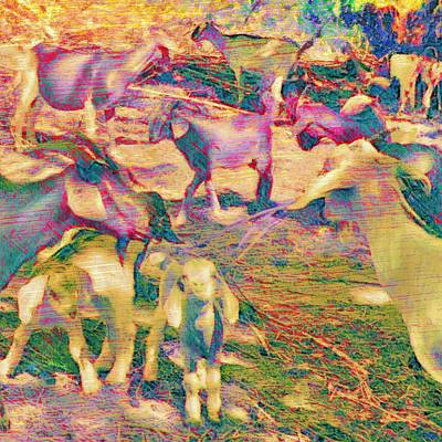 Painting - Textured Goat Herd In Lilac - Square  by Lyn Voytershark