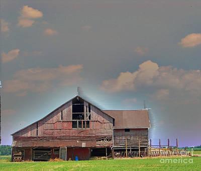 Blue Photograph - Textured - Grey Barn by Gena Weiser