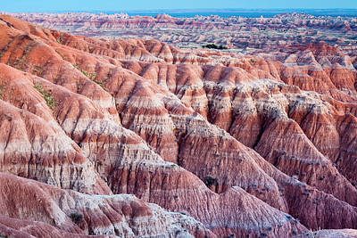 Textured Landscape In Badlands National Print by James White