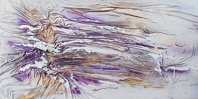 Mixed Media - Textured Purple And Gold Series 3 by Angela Stout