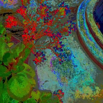 Digital Art - Textured Red Flowers - Square by Lyn Voytershark