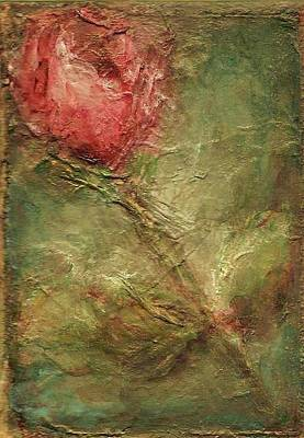 Art Print featuring the painting Textured Rose Art by Mary Wolf