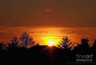 Textured Rural Sunset Art Print by Gena Weiser
