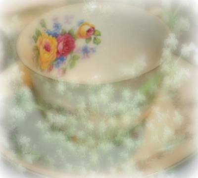Textured Tea Cup Art Print by Barbara S Nickerson