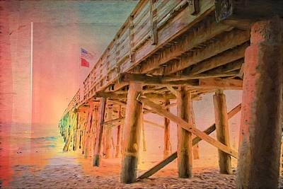 Photograph - Texturized Pier Sunrise by Alice Gipson