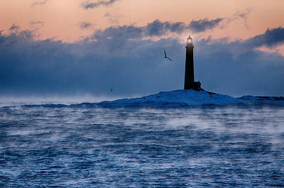 Thacher Island Lighthouse Seagull Passes Art Print