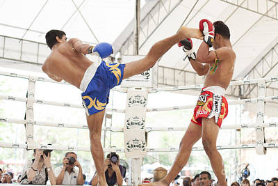 Thai Boxing Match Art Print by Anek Suwannaphoom