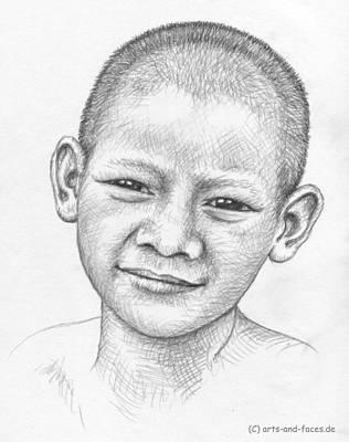 Thai Drawing - Thai Boy by Nicole Zeug