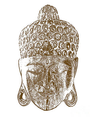 Thai Buddha Mask Print by Kate McKenna
