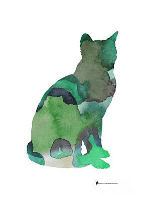 Thai Mixed Media - Thai Cat Silhouette Painting Watercolor Art Print by Joanna Szmerdt