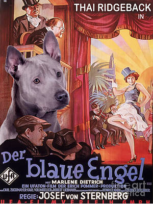 Painting - Thai Ridgeback Art Canvas Print - Der Blaue Engel Movie Poster by Sandra Sij