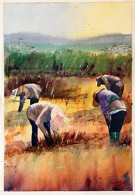Painting - Thai Workers - Prayer by Sof Georgiou