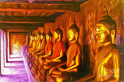 Painting - Thailand Buddhas by Gregory Dyer