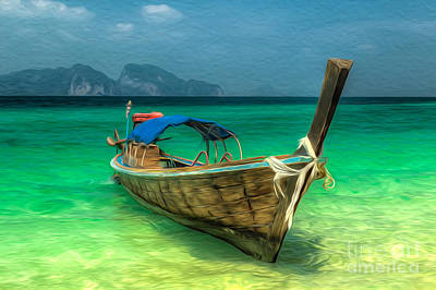 Remote Digital Art - Thailand Long Boat by Adrian Evans