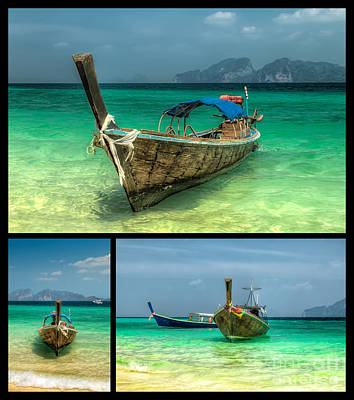 Coastline Digital Art - Thailand Longboats by Adrian Evans
