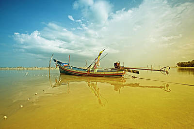 Longtail Wall Art - Photograph - Thailand Longtail Fishing Boat by 35007